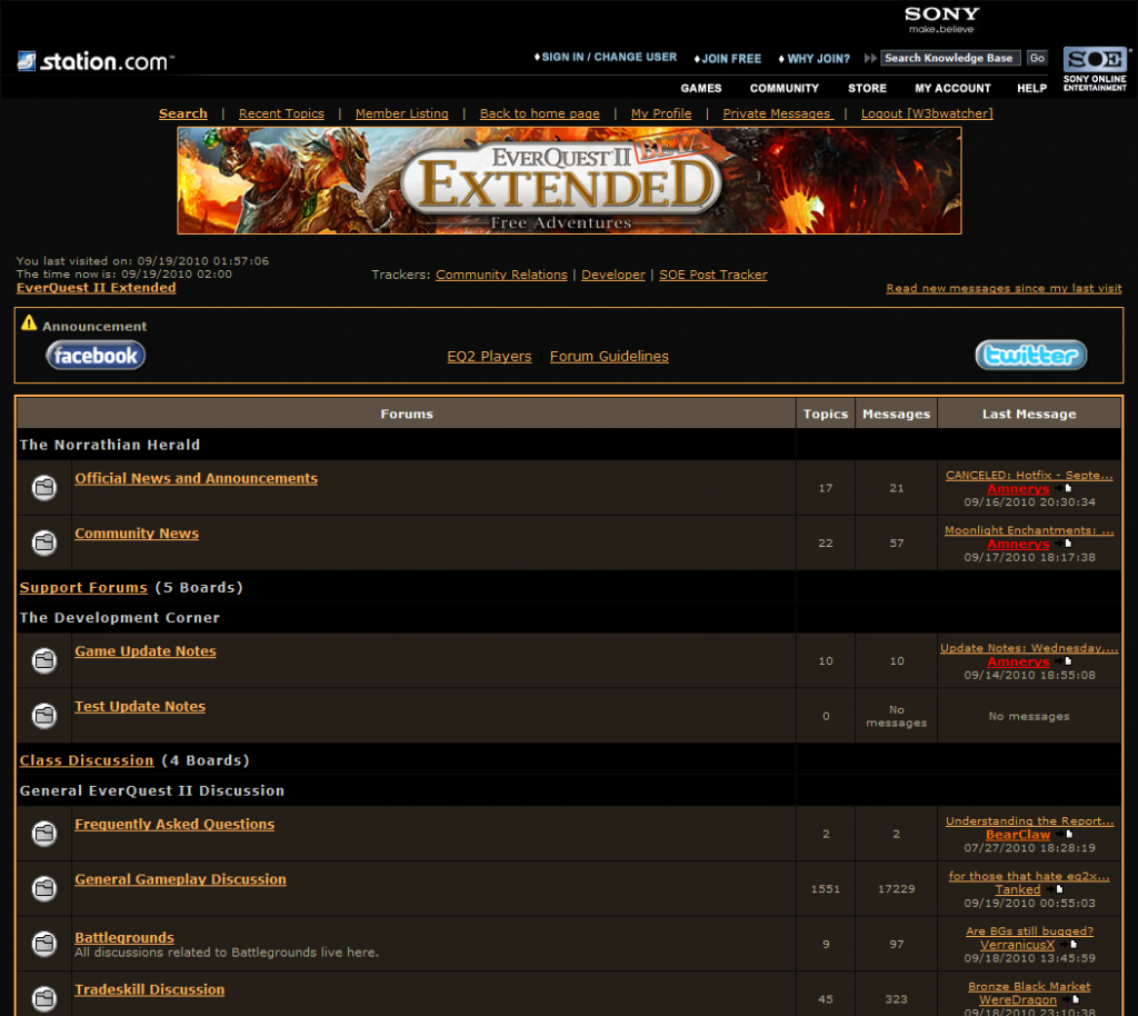 EverQuest 2 Extended: Screenshot der Forenseite von Everquest 2 Extended