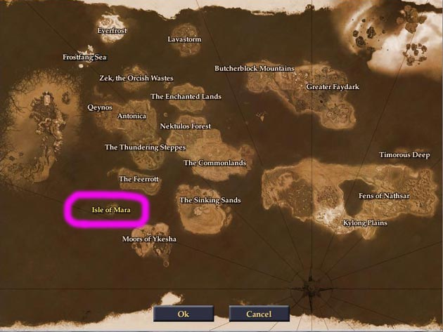 Everquest 2 Extended: Karte des Reise-Globus an den Docks