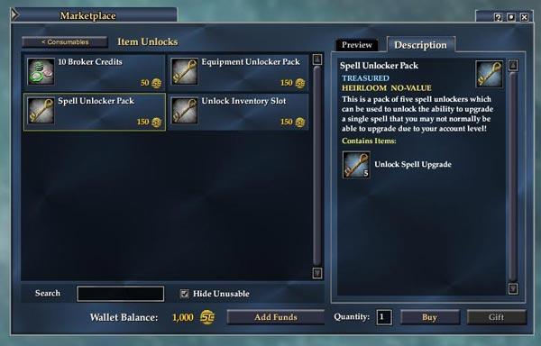 EQ2 Marketplace - Unlocker für Spells, Items und Taschenplätze