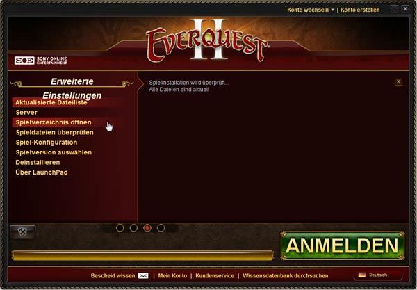 EverQuest 2 - Launchpad: Installationsverzeichniss öffnen
