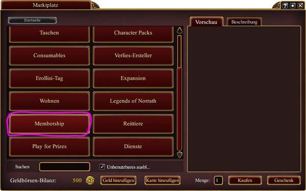 EverQuest 2 - Bereich Mitgliedschaft im Marktplatz auswählen