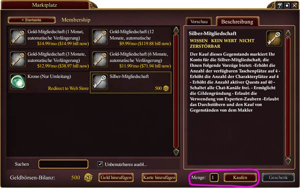 EverQuest 2 - Silber-Mitgliedschaft über den Marktplatz im Spiel kaufen