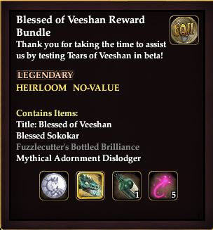 "EverQuest 2 - Betatest Belohnung ""Blessed of Veeshan"""