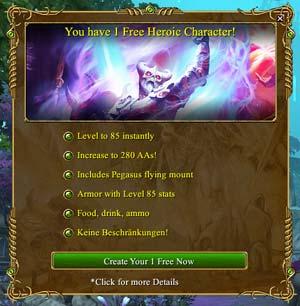EverQuest 2 - kostenlosen Heroic Character im Startscreen anfordern