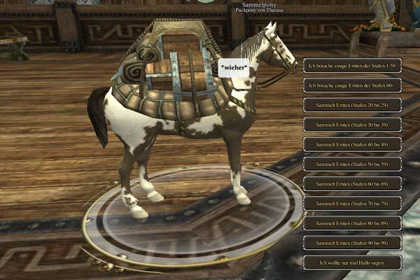 EverQuest 2 - Das Packpony des Kunsthandwerkers sammelt auch Rohstoffe wenn man offline ist